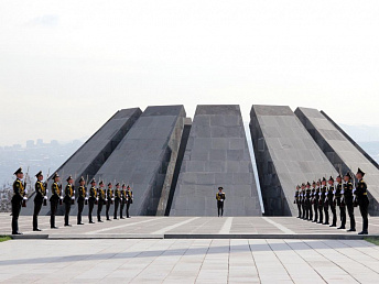 Armenia's president lays a wreath at Genocide Memorial